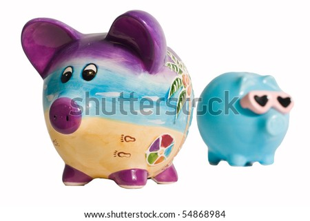 Two isolated piggy banks on a white background
