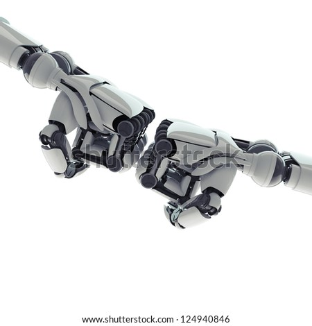 Two isolated robotic fists on white background - stock photo