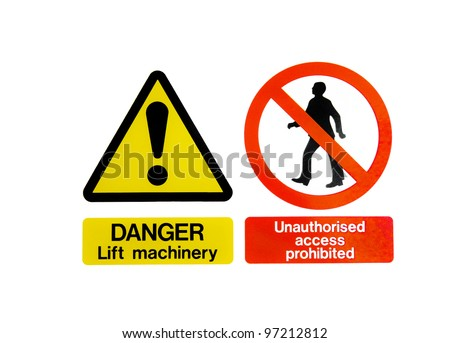 Two isolated warning hazard signs, one of an exclamation mark on a yellow triangle for lift machinery, and one prohibiting unauthorised acces with a man walking in a red circle - stock photo