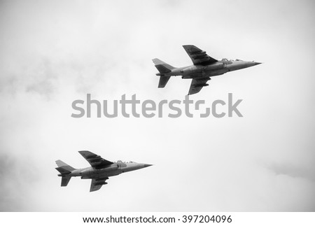 Two jet fighters on sky    - stock photo
