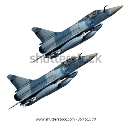 Two jets. Jets is plastic kit 1:144 scale Homemade work - stock photo