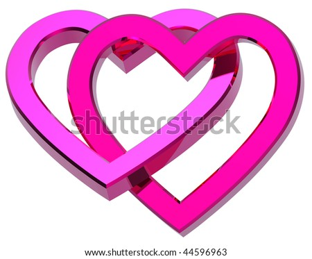 Two joined pink hearts isolated on white. Computer generated 3d photo rendering. - stock photo
