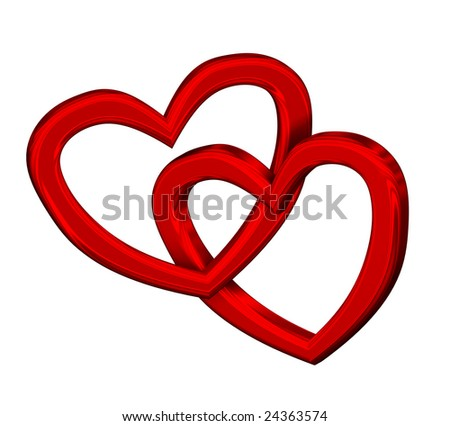 Two joined red hearts on white background - stock photo