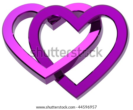 Two joined violet hearts isolated on white. Computer generated 3d photo rendering. - stock photo