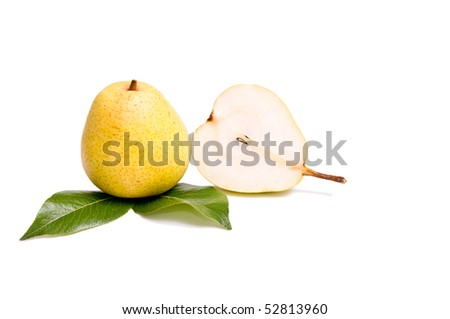 Two juicy pears isolated on a white background. - stock photo