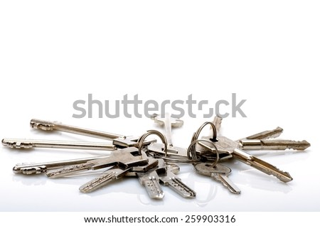 Two keys ligament held together using the ring on white background - stock photo