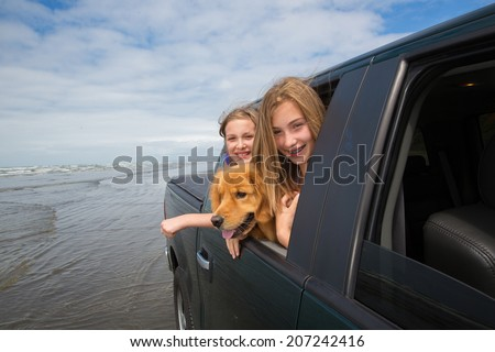 two kids and a happy golden retriever dog with their heads out the window of a vehicle while driving on the beach - stock photo