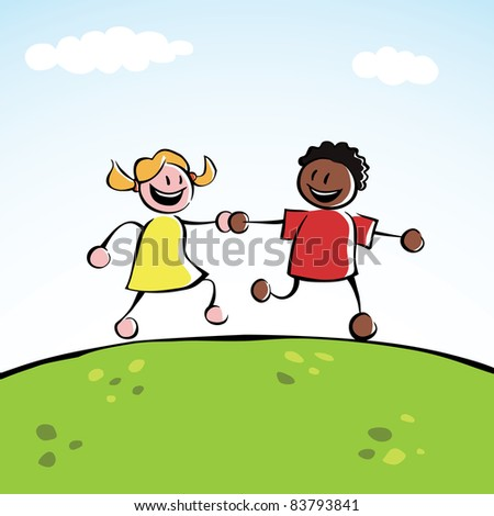 Two kids (boy and girl) holding hands and running on a hill. - stock photo