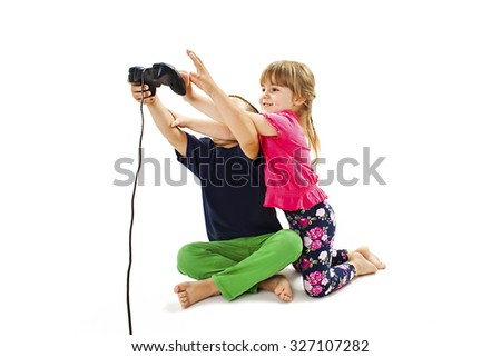 Two kids fighting. Isolated on white background  - stock photo