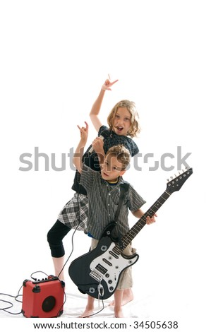two kids pretending to be rock stars