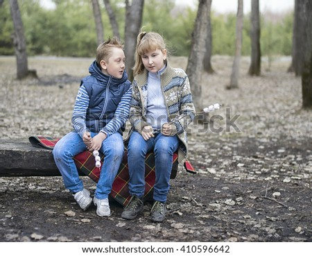 two kids sitting on the wooden bench in the park cookout the marshmellow
