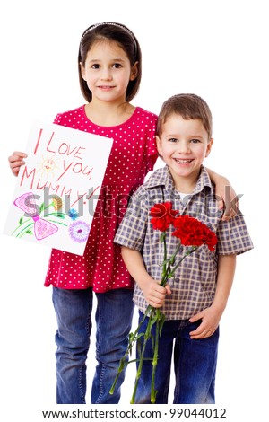 Two kids with greetings for mum, isolated on white - stock photo