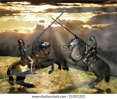 Two knights jousting Musee de l'Armee Paris France - stock photo