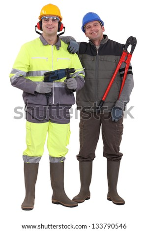 Two laborer colleagues - stock photo
