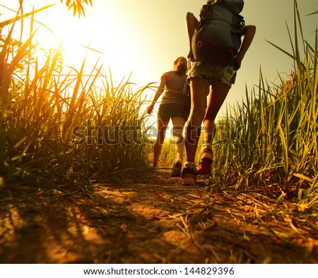 Two ladies hikers walking through green lush meadow - stock photo