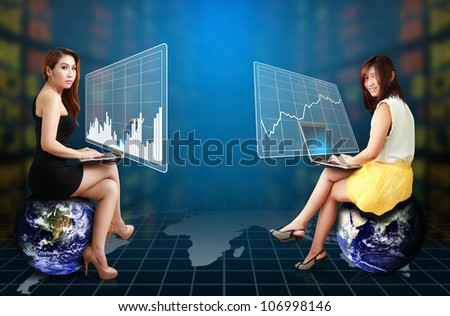 Two lady and graph report : Elements of this image furnished by NASA - stock photo