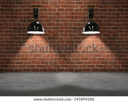 Two lamps illuminating a room - stock photo