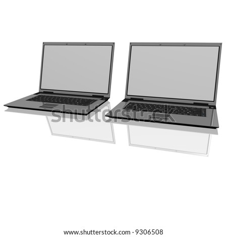 Two laptops isolated on white with reflections on glass table. - stock photo
