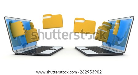 Two laptops to transfer the file (done in 3d) - stock photo