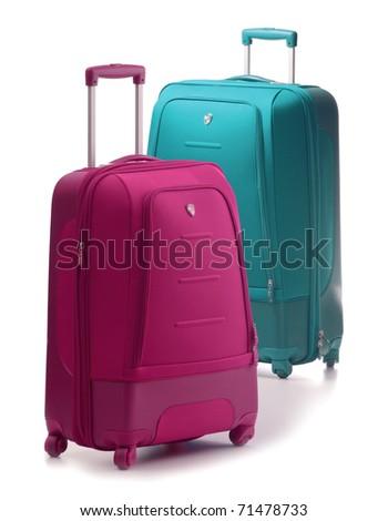 Two large suitcases isolated on white. Luggage - stock photo