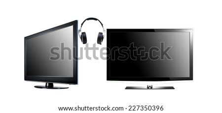 two LCD high definition flat screen TV with headphone isolated on white - stock photo