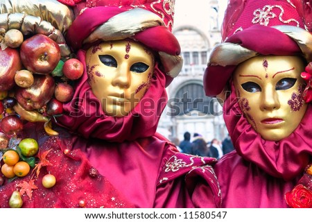 Two leaf mask in Venice, Italy. - stock photo
