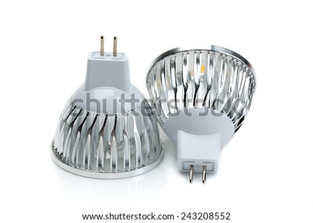 Two LED bulbs MR16. Isolate on white background - stock photo