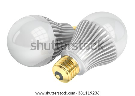two LED lamps isolated on white background - stock photo