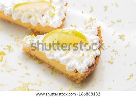 Two lemon pie slices - stock photo