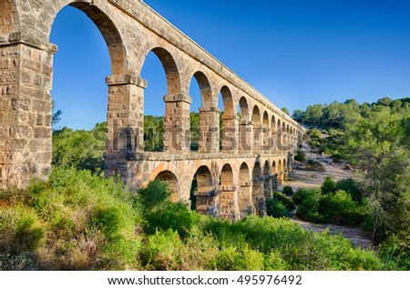 Two level archade of roman aqueduct near Tarragona, Spain