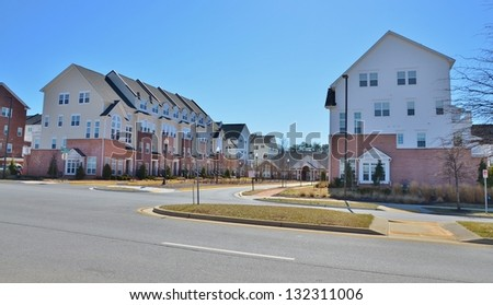 Two Level Stacked Brick Townhomes - stock photo