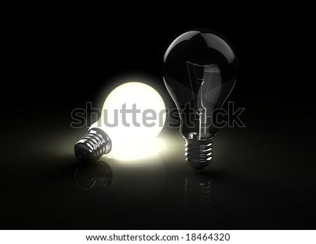 two light bulbs - stock photo