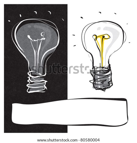 two light-bulbs black & white dynamic freehand line style  (raster version) - stock photo