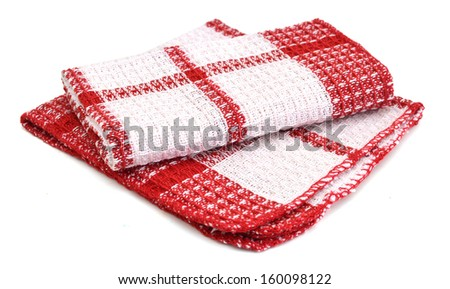 Two linen kitchen towels on a white background  - stock photo
