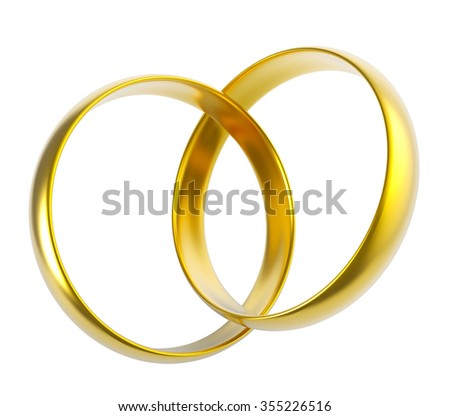 Two linked golden wedding rings isolated on white background. - stock photo