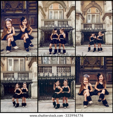 Two little ballerinas dansing in black tutu and having fun - stock photo