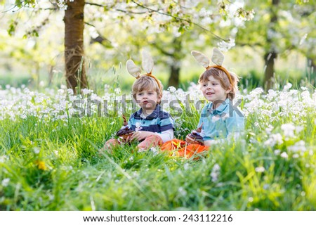 Two little children wearing Easter bunny ears at spring green grass and blooming apple garden, eating chocolate bunny and having fun outdoors.