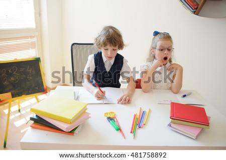 Little Girl Desk Writing Zdjęcie stockowe edytuj teraz