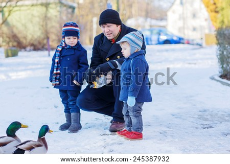 Two little cute funny twin boys and their dad feeding ducks in winter. Family having fun together in city park. Leisure with children in winter on cold sunny day, outdoors. - stock photo