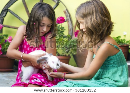 Two little girl play with a rabbit.Two little girl with a bunny  - stock photo
