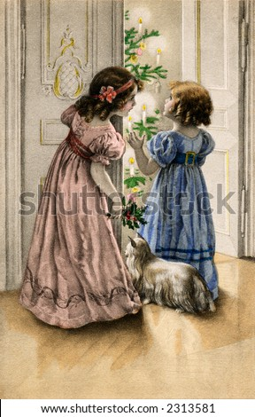 Two little girls and their dog open the door to find the Christmas decorated and aglow - a circa 1890 vintage illustration