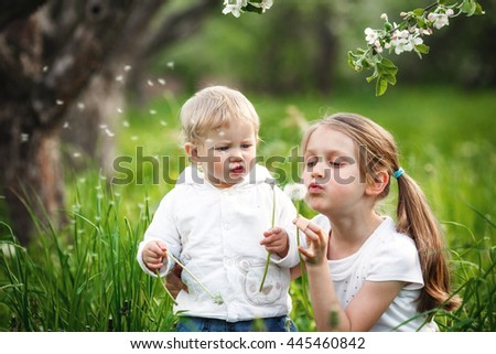 Two little girls blowing dandelions.