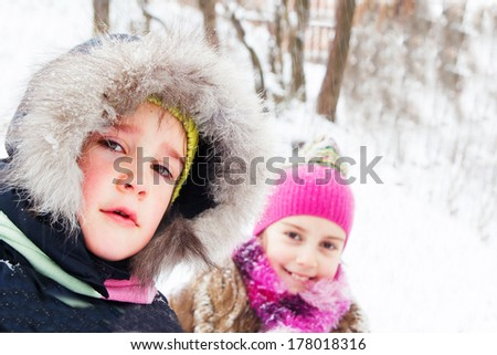 Two little girls having fun in winter