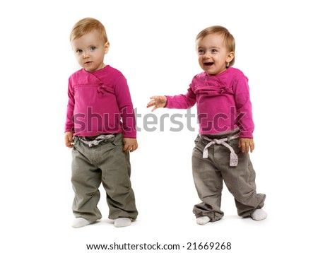 two little girls on white background - stock photo