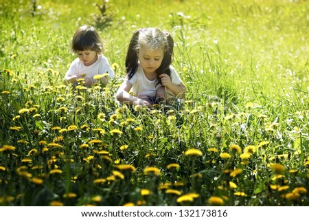 Two little girls playing in the meadow with dandelions - stock photo