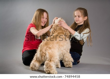Two little girls playing with spaniel - stock photo