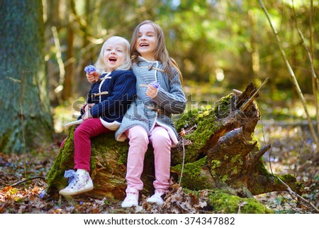 Two little sisters picking the first flowers of spring while hiking in the woods on beautiful spring day - stock photo