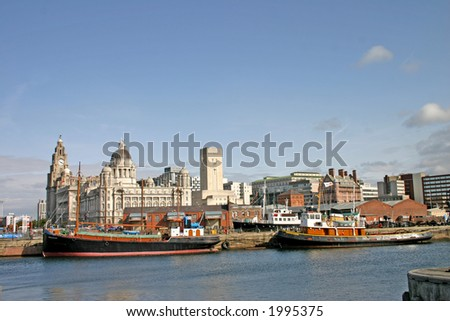 Two Liverpool Ships in Dock UK England - stock photo