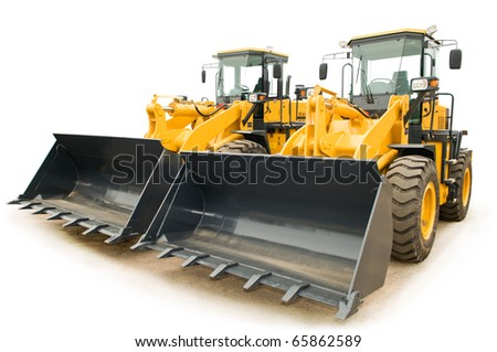 Two Loaders excavators construction machinery equipment isolated - stock photo