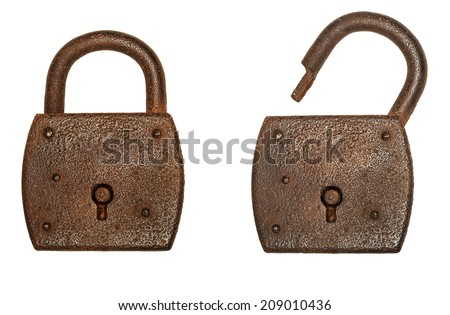 Two locks, locked and unlocked, isolated on a white background - stock photo